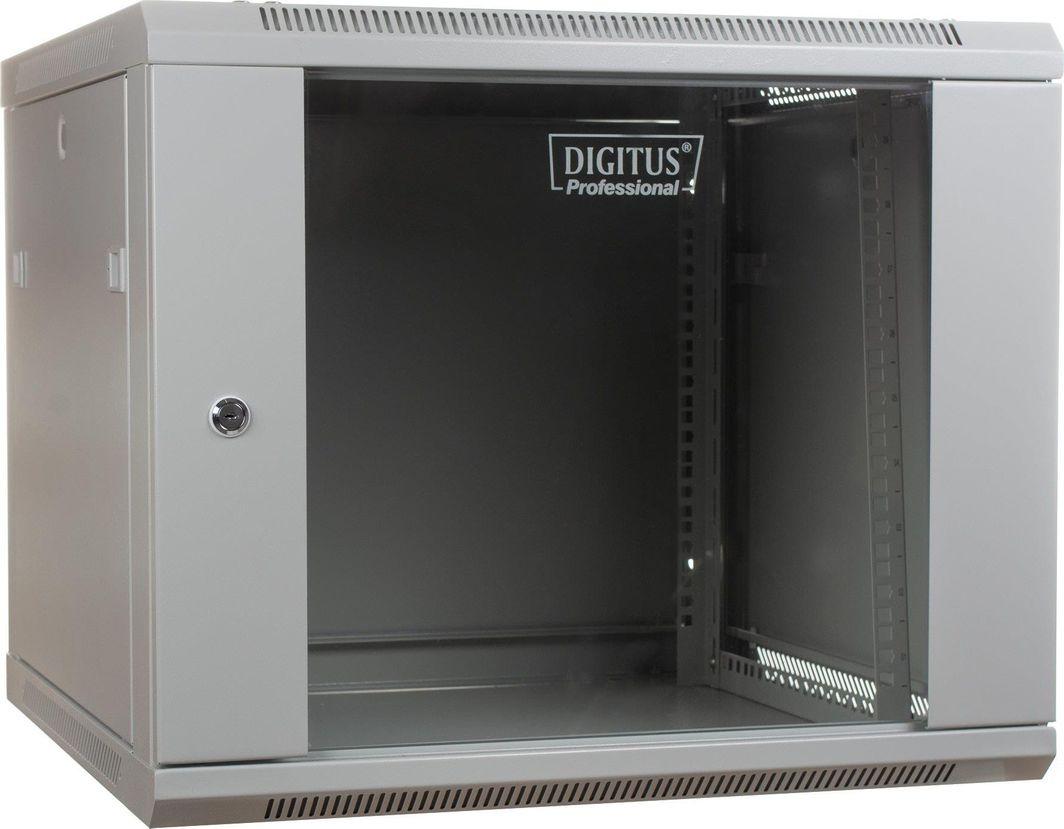 """Szafa Digitus DIGITUS Szafa wisząca 19"""" 9U 501/600/450mm, drzwi szklane, szara, niezmontowana 1"""