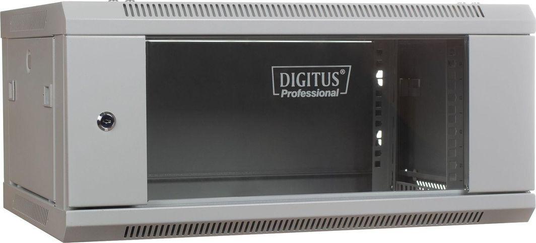 """Szafa Digitus DIGITUS Szafa wisząca 19"""" 4U 279/600/450mm, drzwi szklane, szara, niezmontowana 1"""