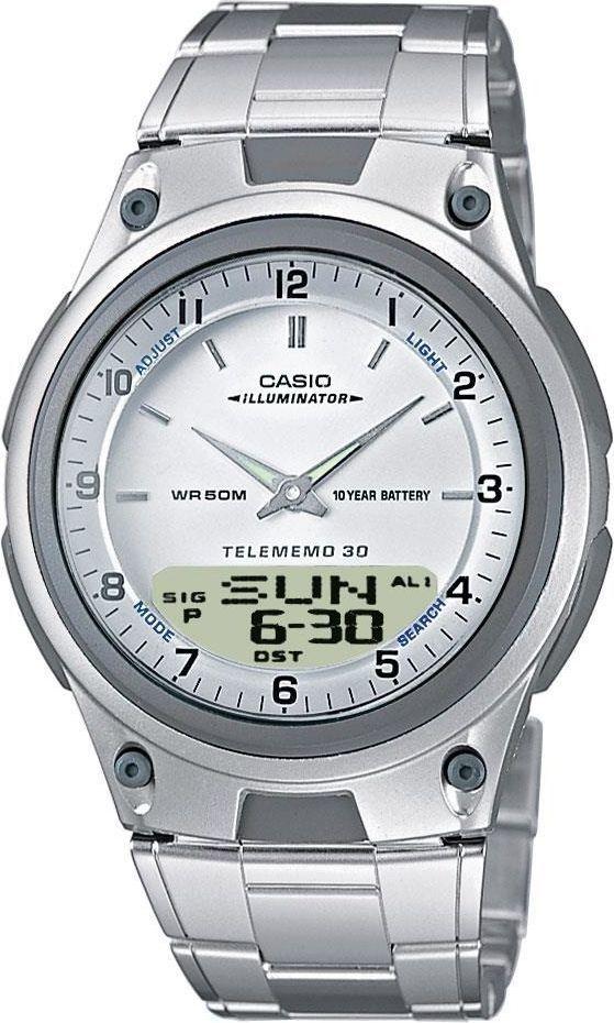 Zegarek Casio AW-80D-7AV DataBank męski srebrny 1
