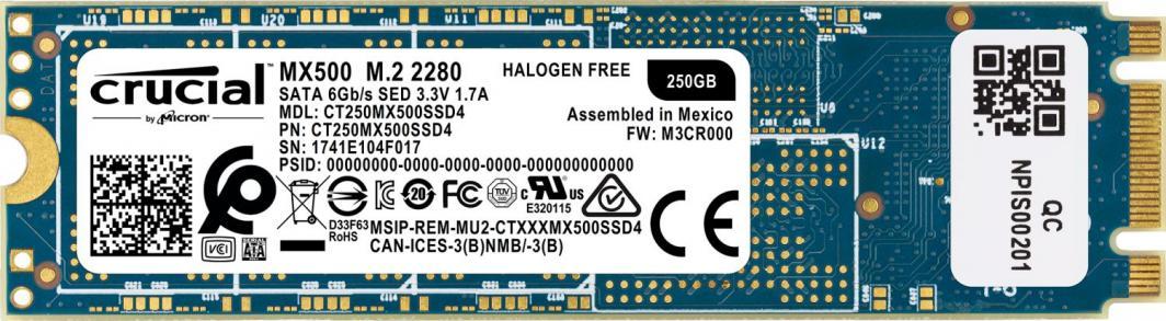 Dysk SSD Crucial MX500 250 GB M.2 2280 SATA III (CT250MX500SSD4) 1