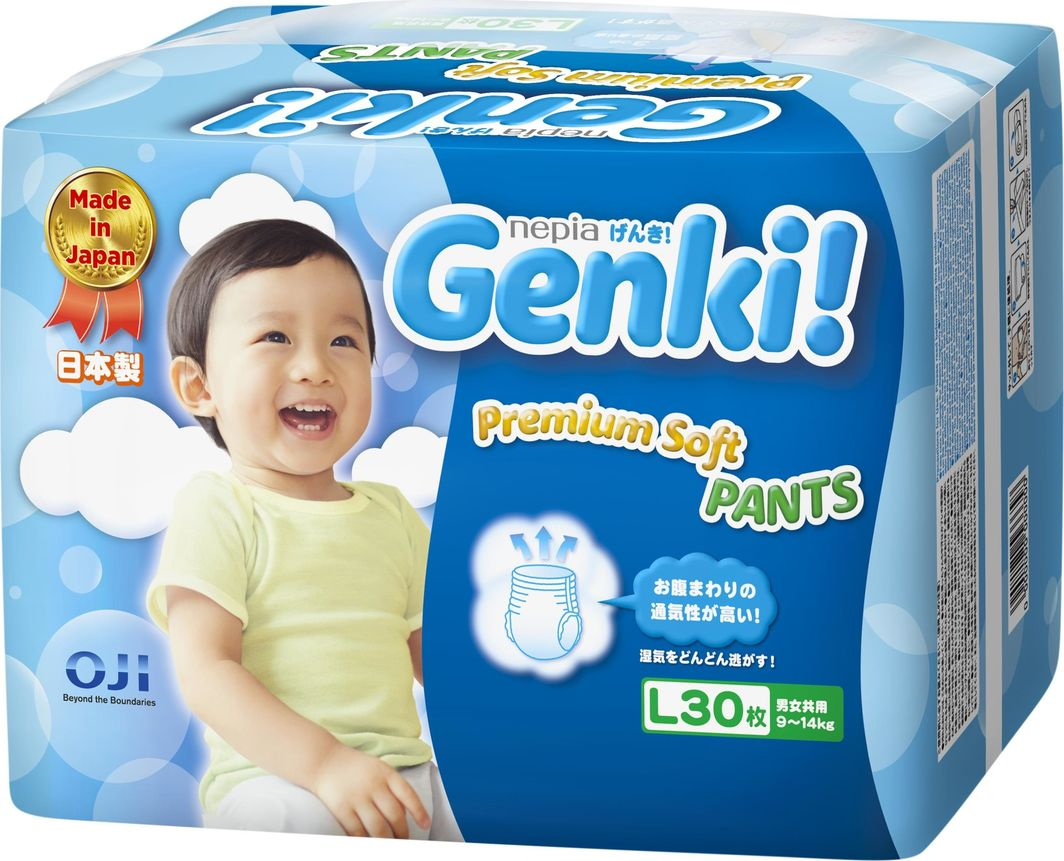 Genki Pieluchomajtki Premium Soft L 9-14 kg 30 szt. 1
