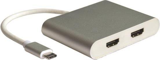 Adapter USB Roline Zewnętrzny adapter wideo - USB Typ-C - 2 x HDMI - Srebrny 1