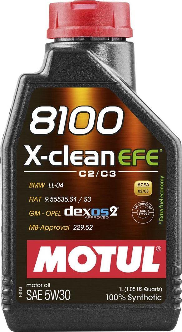 Olej silnikowy Motul OLEJ MOTUL 5W30 1L X-CLEAN 8100 EFE C2/C3 / 229.52 / LL04 / DEXOS2 / FIAT 9.55535-S1 / S3 1