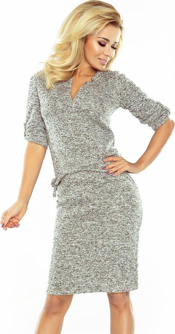 numoco DOROTA - Sukienka z kołnierzykiem - ciepły sweterek - GRAFIT MELANŻ 1