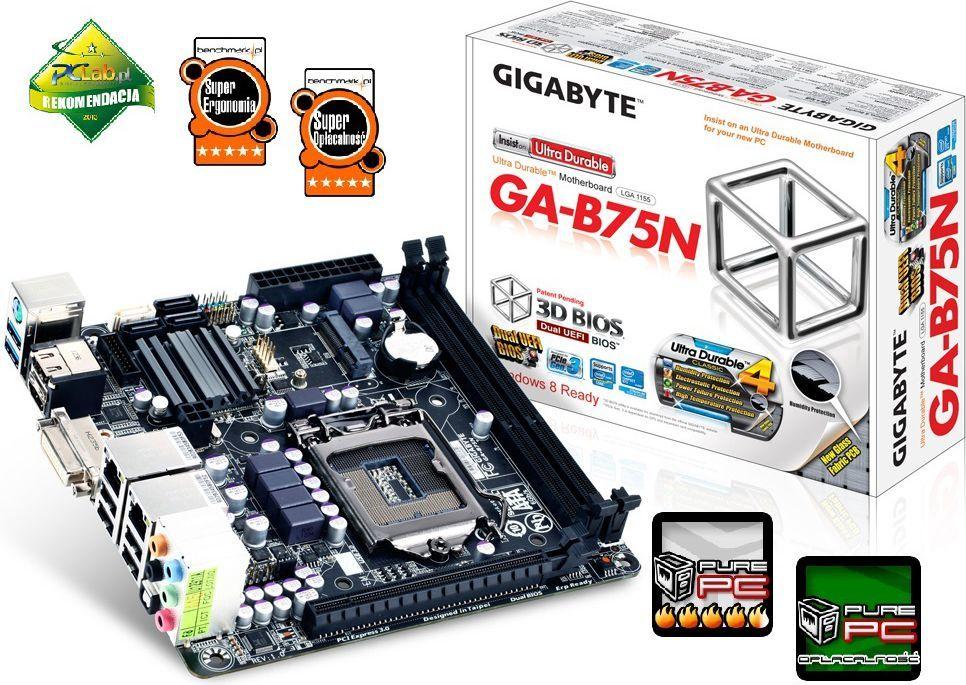 Płyta główna Gigabyte GA-B75N, B75, DualDDR3-1600, SATA3, HDMI, DVI, GBLAN, mITX (GA-B75N) 1