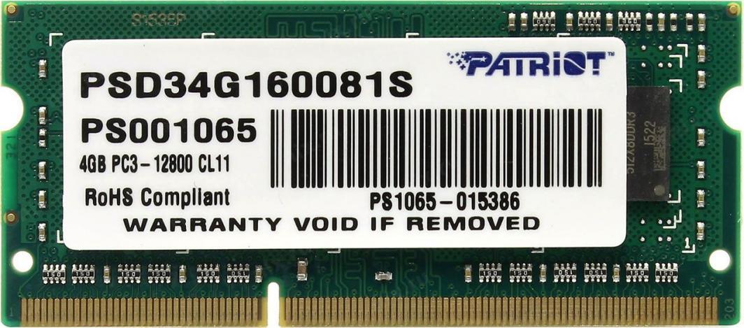 Pamięć do laptopa Patriot Signature, SODIMM, DDR3, 4 GB, 1600 MHz, CL11 (PSD34G160081S) 1