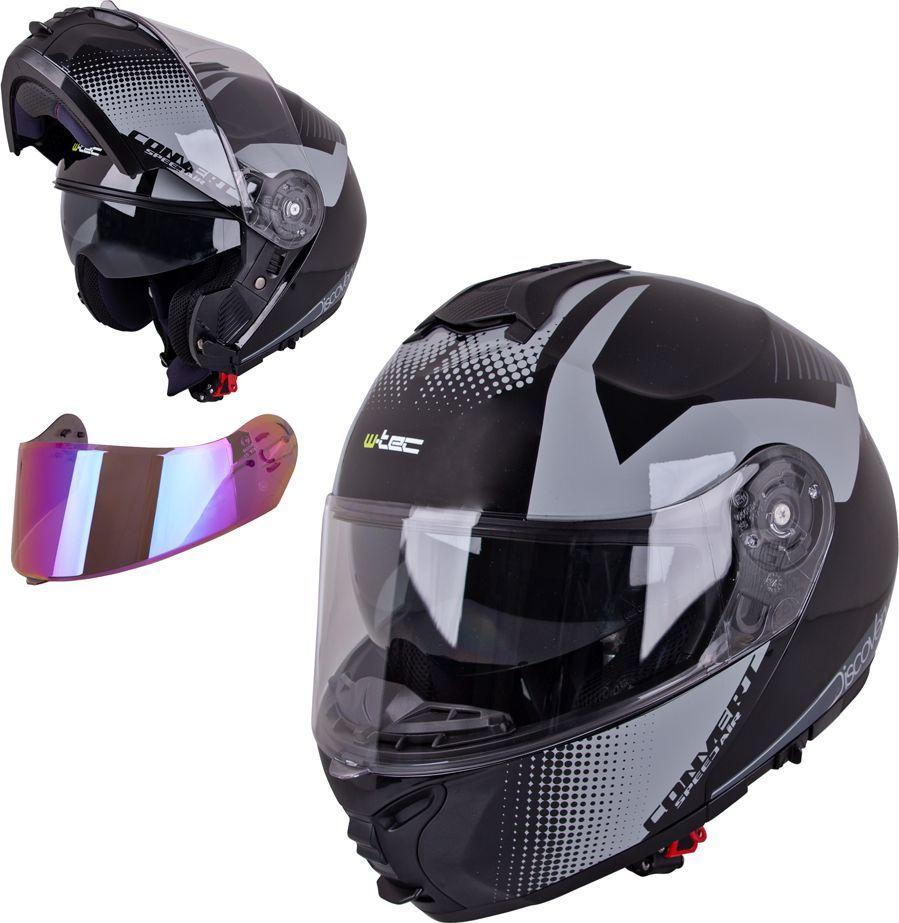 W-TEC Kask motocyklowy szczękowy z blendą W-TEC FS-907 + szybka Kolor Black Matt, Rozmiar S (55-56) 1