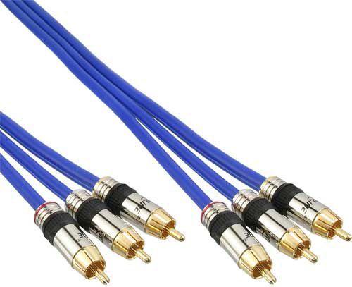 Kabel InLine RCA (Cinch) x3 - RCA (Cinch) x3 2m niebieski (89602P) 1
