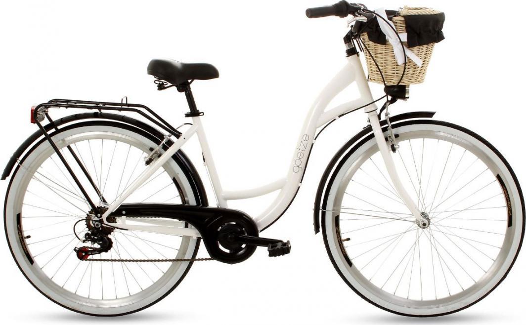 """Goetze Rower miejski Mood 28"""" sześciobiegowy biało-czarny z metalowym koszem 1"""