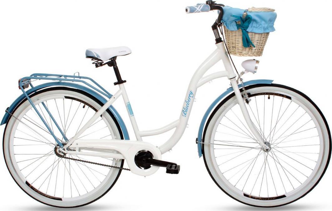 """Goetze Rower miejski Blueberry 28"""" biało-niebieski z metalowym koszem 1"""