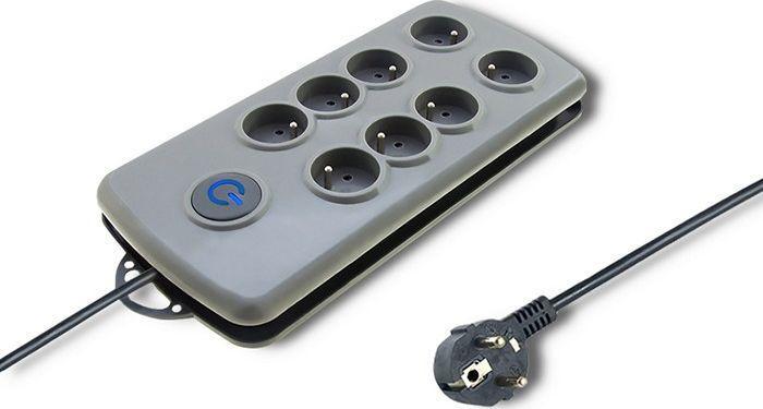 Listwa zasilająca Qoltec Quick Switch przeciwprzepięciowa 8 gniazd 2.5m szary (50162) 1