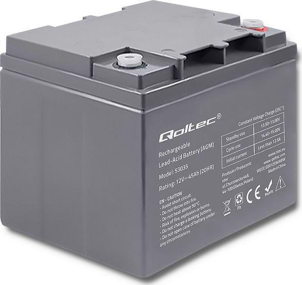 Qoltec Akumulator AGM 12V 45Ah max.13.5A 1