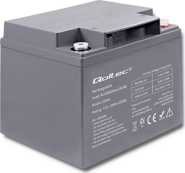 Qoltec Akumulator AGM 12V 38Ah max.11.4A 1
