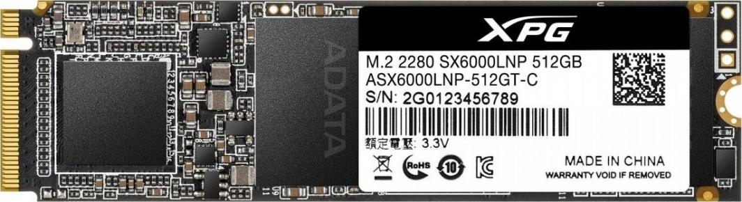 Dysk SSD ADATA XPG SX6000 Lite 512 GB M.2 2280 PCI-E x4 Gen3 NVMe (ASX6000LNP-512GT-C) 1