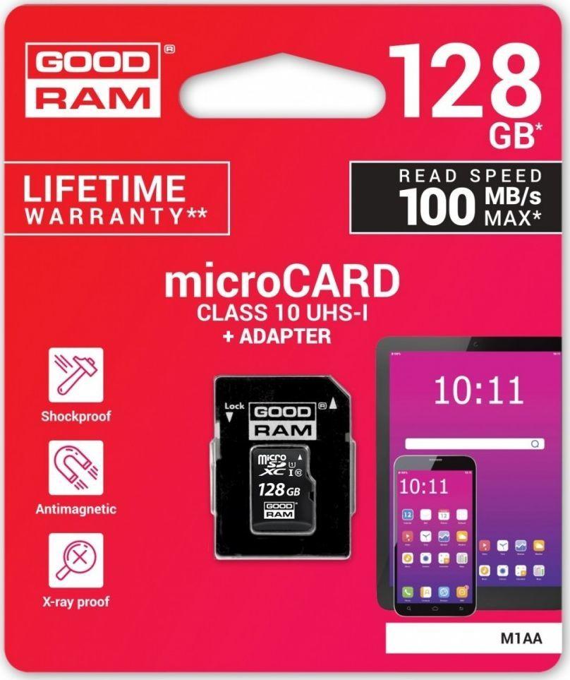 Karta GoodRam MicroSDXC 128 GB Class 10 UHS-I/U1  (M1AA-1280R12                   ) 1