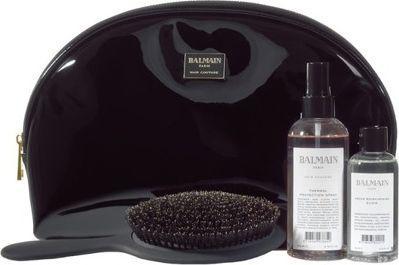 Balmain Limited Edition Cosmetic Bag zestaw duża czarna lakierowana kosmetyczka + Thermal Spray 200ml + Argan Elixir 100ml + szczotka z włosia dzika 1