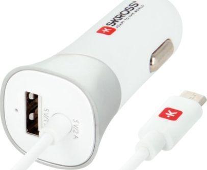 Ładowarka Skross ŁADOWARKA SAMOCHODOWA ZAPALNICZKA SKROSS 1X USB 1A 12V/24V BIAŁA + KABEL MICRO USB 1