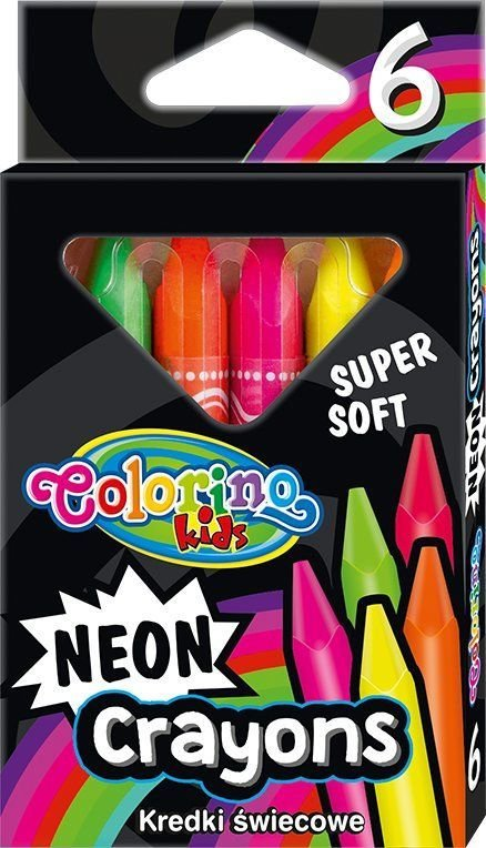 Colorino Vaškinės trikampės kreidelės Colorino Kids, 6 neoninių spalvų 1