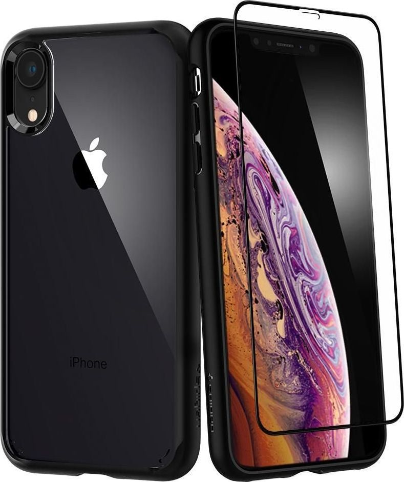 Spigen Nakładka + Szkło Ultra Hybrid 360 do Apple iPhone XR czarna 1
