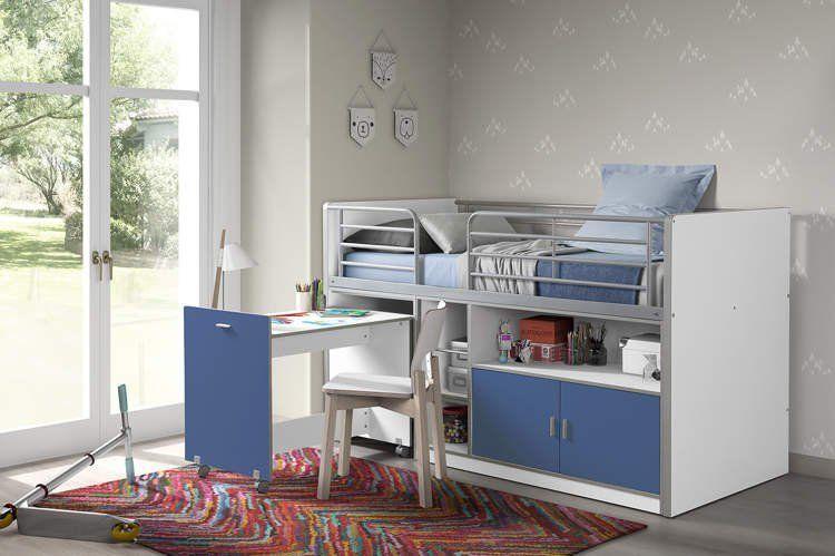 Vipack Łóżko piętrowe dla dzieci Bonny Bis Blue z biurkiem uniw 1
