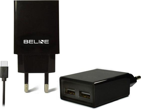 Ładowarka Beline 2xUSB + USB-C 2A czarna/black (Beli0010) 1