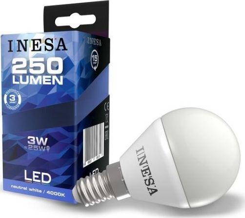 Inesa Żarówka LED LED Ball 3W 250lm 4000K E14 160° G3 60631 INESA 1