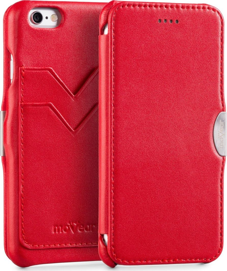 moVear Pokrowiec Etui na Apple iPhone 6, 6s moVear flipSide C+ | Czerwony, Skóra Standard 1