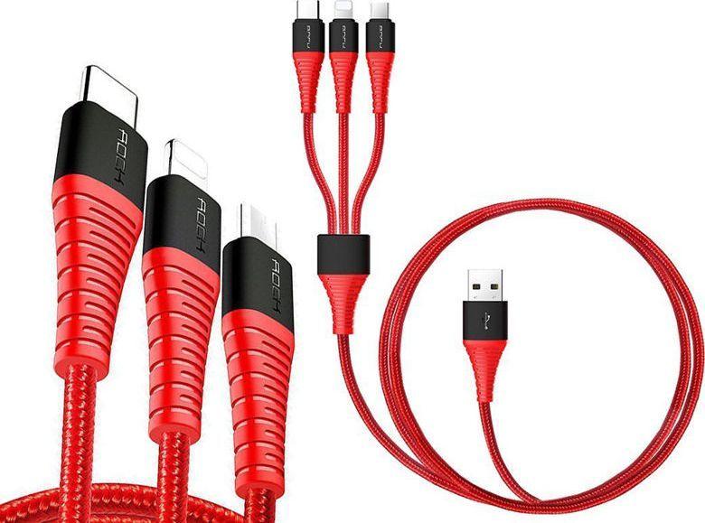 Kabel USB Rock Kabel Rock Hi-Tensile 3w1 3A 1,2M USB-C + Lightning + Micro Czerwony uniwersalny 1