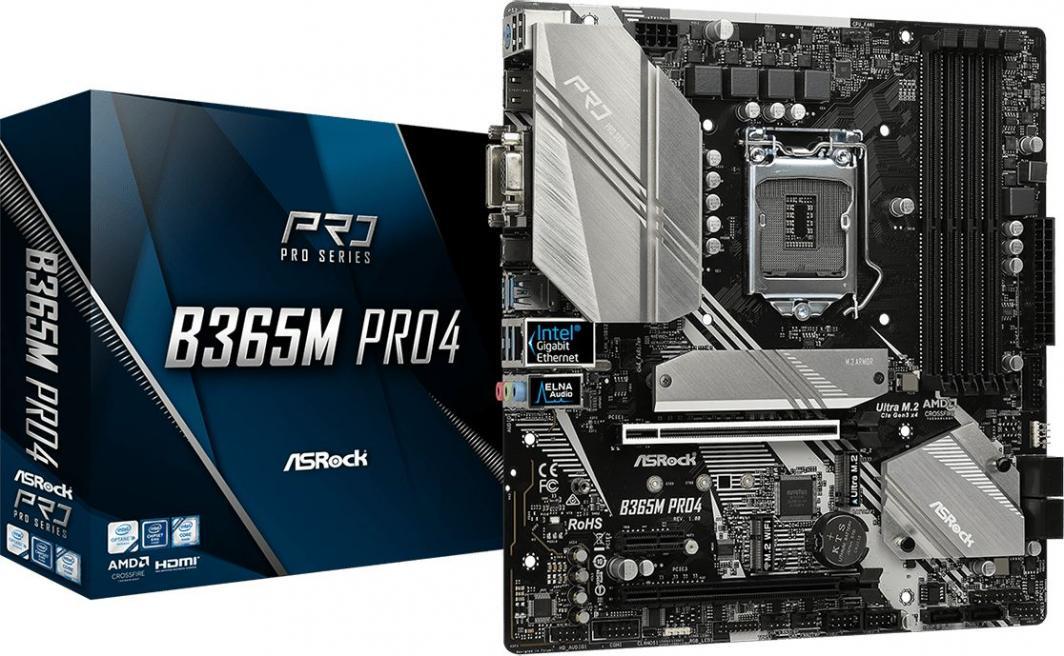 Płyta główna ASRock Płyta główna Asrock B365M PRO4 (LGA 1151; 4x DDR4 DIMM; Micro ATX; CrossFireX) (B365M PRO4) - PLYASR1510085 1