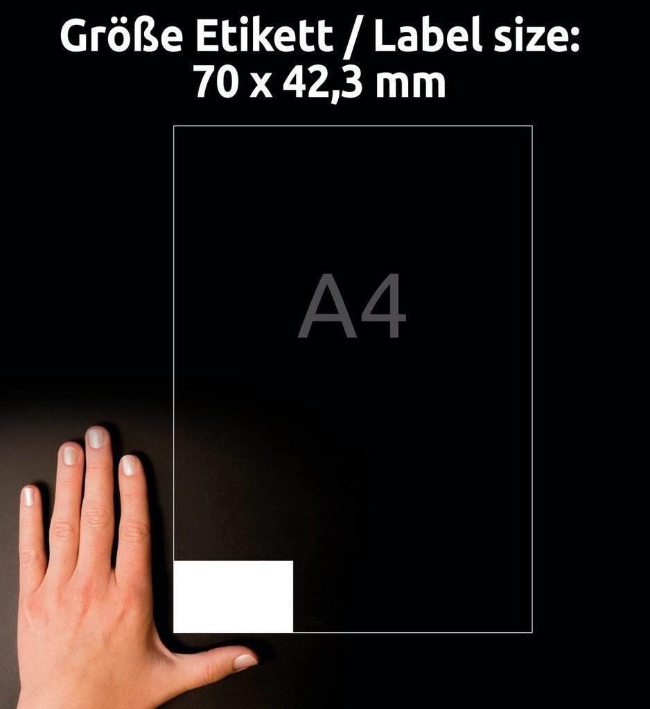 Avery Zweckform Etykiety uniwersalne ogólnego zastosowania, 70 x 42,3mm, białe, do drukarki, 210 sztuk -3652-10 1
