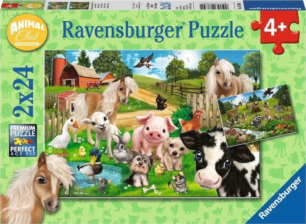 Puzzles & Geduldspiele Ravensburger Puzzle 2x24 elementy Klub zwierząt