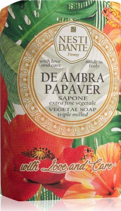 Nesti Dante Mydło w kostce De Ambra Papaver Sapone Czerwony mak 250g 1