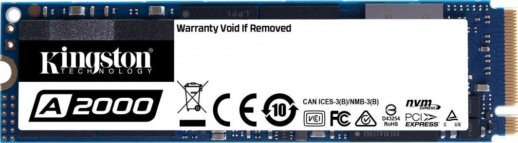 Dysk SSD Kingston A2000 1 TB M.2 2280 PCI-E x4 Gen3 NVMe (SA2000M8/1000G) 1