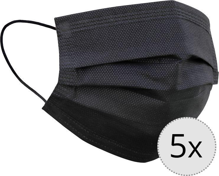 Maseczka ochronna 3-warstwowa wielokrotnego użytku zestaw 5 sztuk czarna (5942379) 1