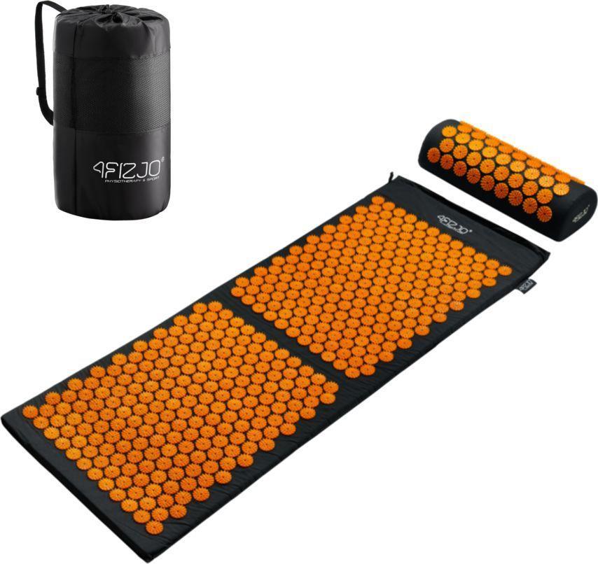 4fizjo Mata do akupresury z kolcami + poduszka 130x50 (czarno-pomarańczowa) 1