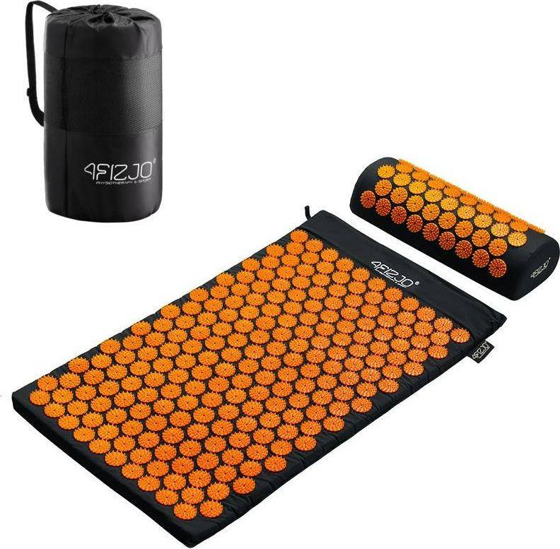 4fizjo Mata do akupresury z kolcami + poduszka (czarno-pomarańczowa) 1