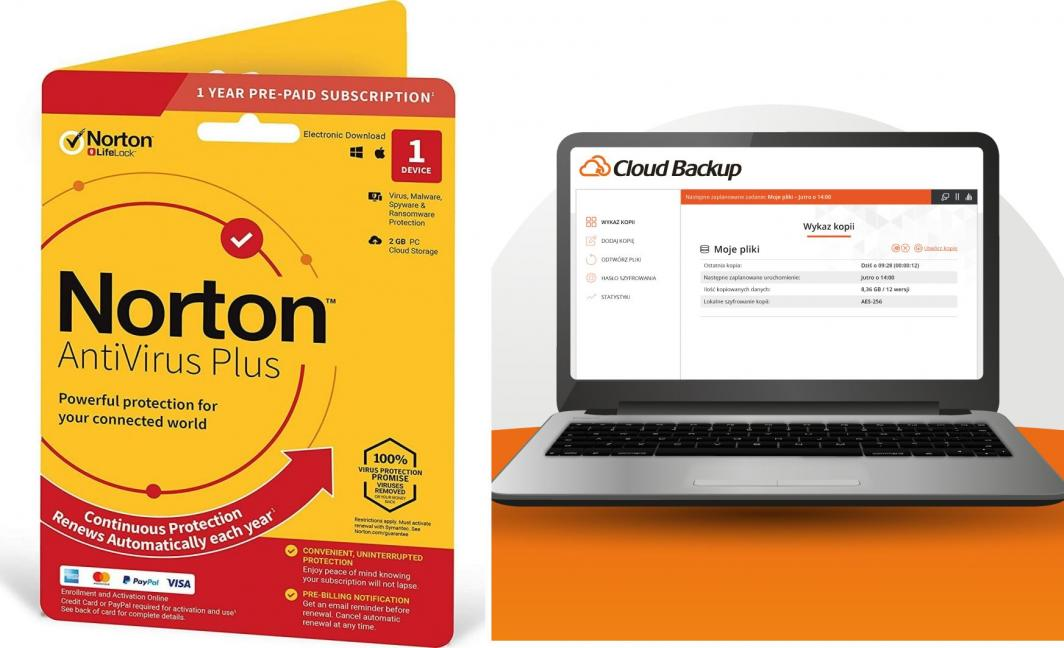 NORTON Cloud Backup + Norton AntiVirus Plus - 2w1! 1