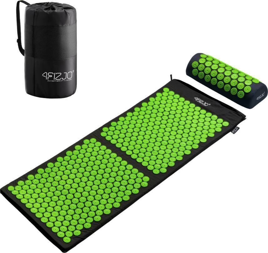4fizjo Mata do akupresury z kolcami + poduszka 130x50 (czarno-zielona) 1