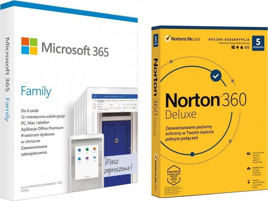 Microsoft 365 Family PL (6GQ-01161) + Norton 360 Deluxe 5 urządzeń 12 miesięcy (21408667) 1
