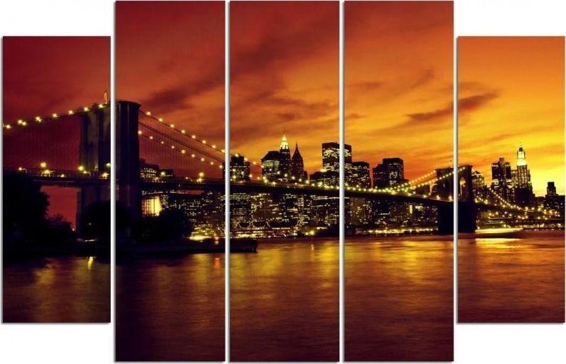 Feeby Obraz pięcioczęściowy na płótnie Canvas, pentaptyk typ B, Brooklyn Bridge i Manhattan o zachodzie słońca 150x100 1