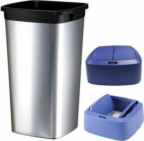 Kosz na śmieci Vileda uchylny 60L srebrny (Zes000015) 1