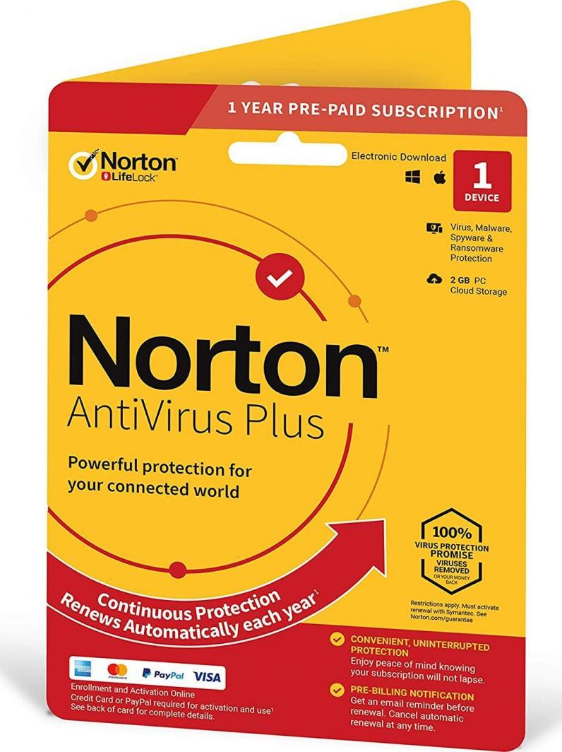 NORTON ANTIVIRUS PLUS 2GB PL 1 USER 1 DEVICE 1