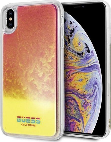 Guess Guess GUHCI65GLCPI iPhone Xs Max różowy /pink hard case California Glow in the dark uniwersalny 1