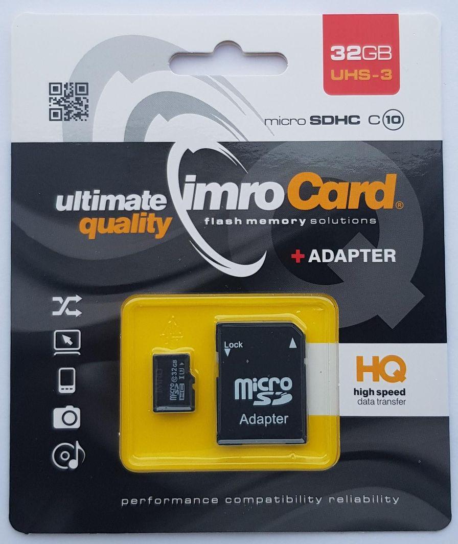 Karta Imro MicroSDHC 32 GB Class 10 UHS-III  (MicroSD10/32G UHS-3 ADP) 1