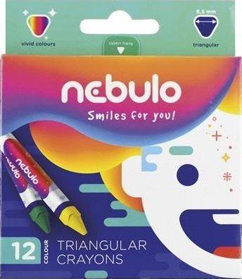 Nebulo Kredki świecowe trójkątne 12 kolorów NEBULO 1