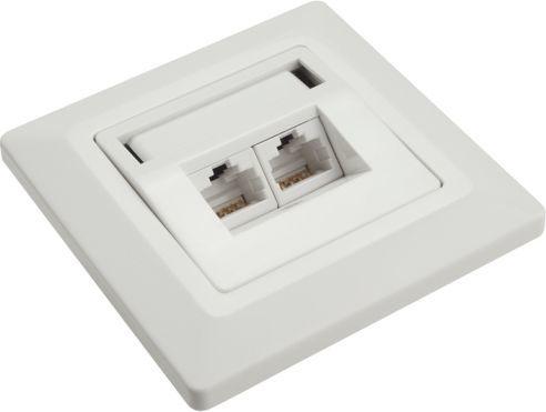 Solarix outlet CAT6 UTP 2 x RJ45 podtynkowy biały SX9-2-6-UTP-WH 1