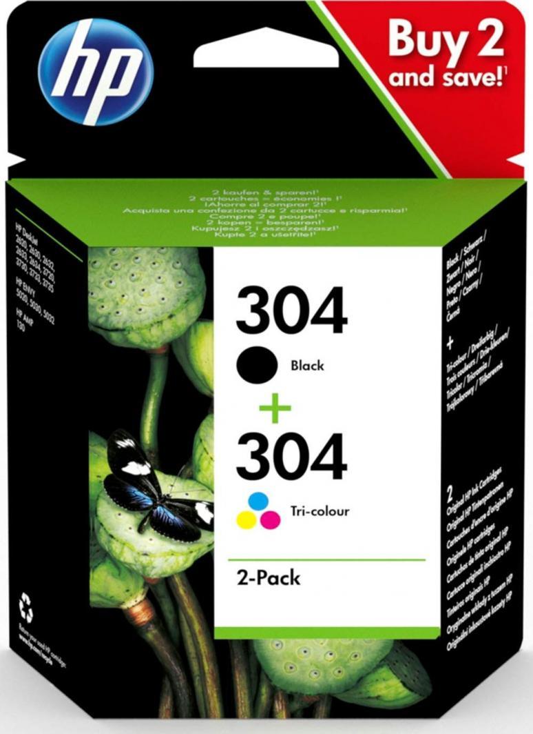 HP Zestaw tuszy HP 304 2-pack | czarny, trójnokolorowy | 1