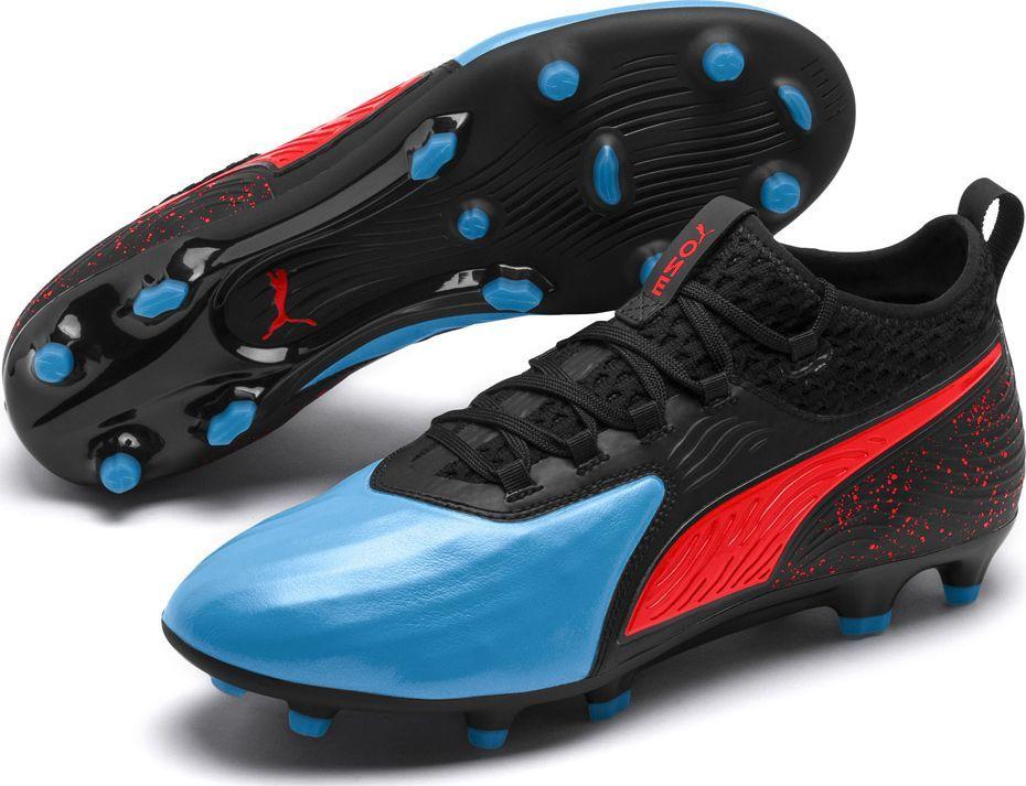 Puma Buty piłkarskie Puma One 19.2 czarno niebiesko czerwone FG AG 105484 01 42,5 1