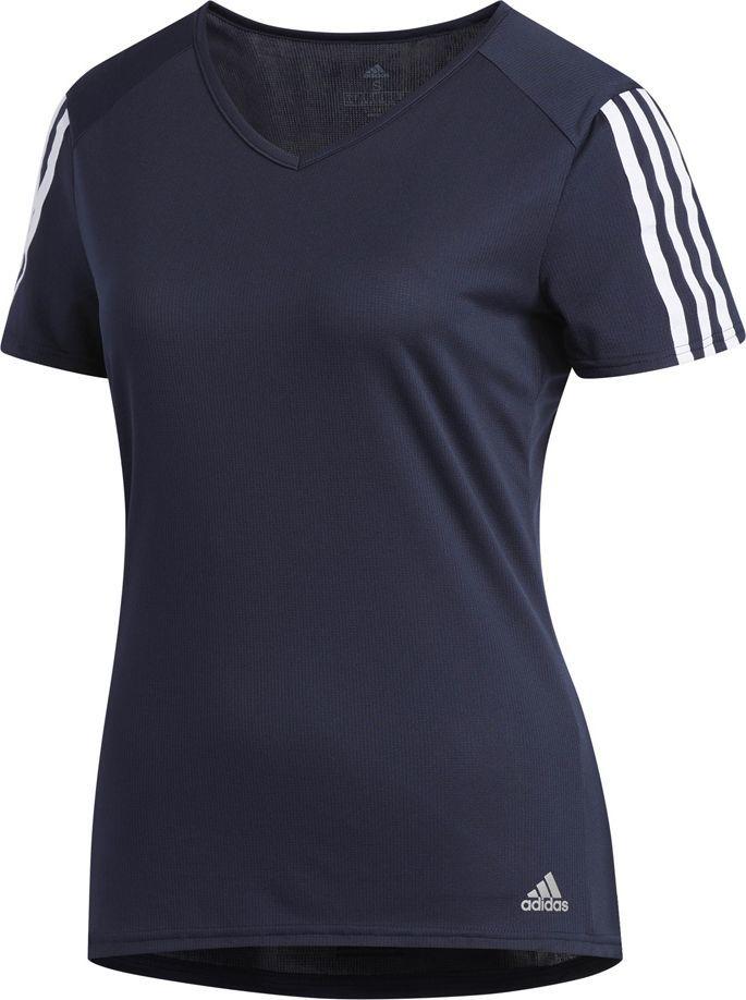 Adidas Koszulka damska Run 3 Stripes Tee granatowa r. S (DX2019) ID produktu: 6130719