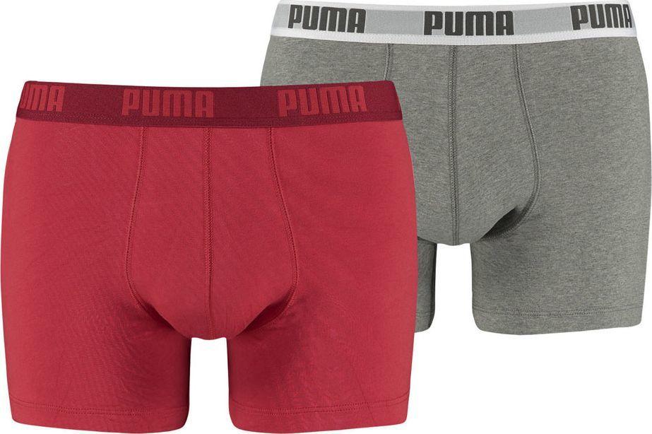 Puma Bokserki męskie Basic Boxer 2P czerwone/szare r. M (521015001 072) 1